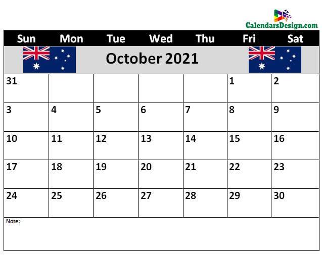 Oct 2021 Australia Calendar