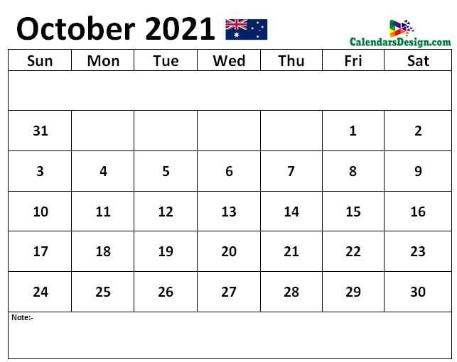 October 2021 Australia calendar with Notes