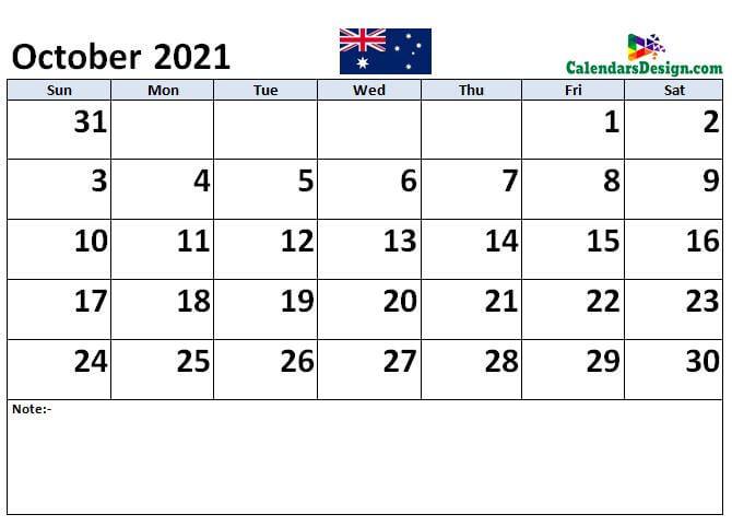 October 2021 Australia calendar