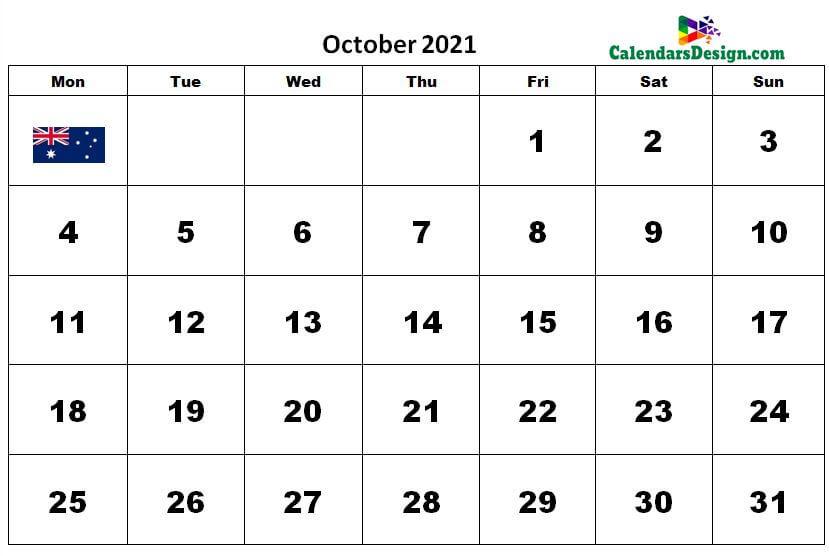 October 2021 Calendar Australia