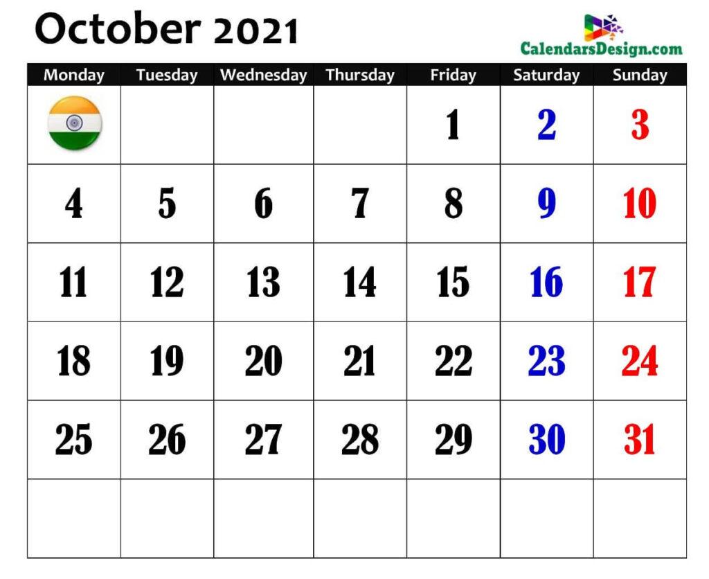 October 2021 Calendar Hindu Panchang