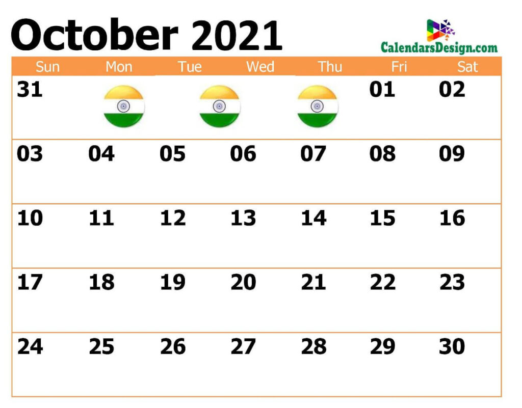 October 2021 Calendar India with Notes