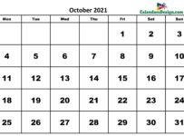 October 2021 Calendar UK
