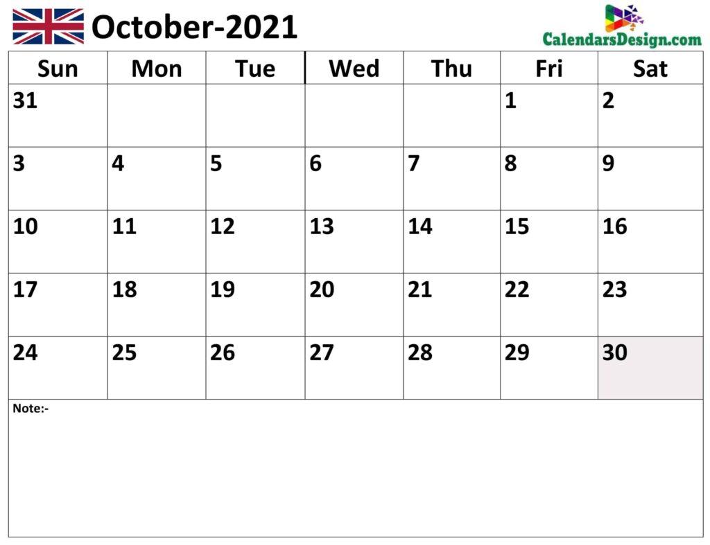 October 2021 Calendar UK with Notes