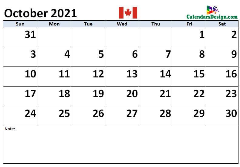 October 2021 Canada calendar