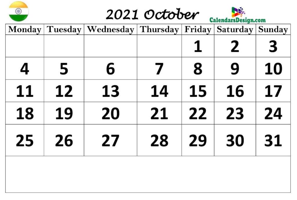October 2021 Kal nirney Calendar