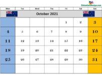 October 2021 NZ calendar