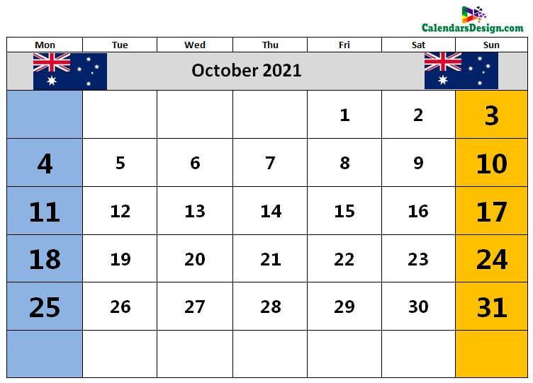 October Calendar 2021 Australia With Holidays