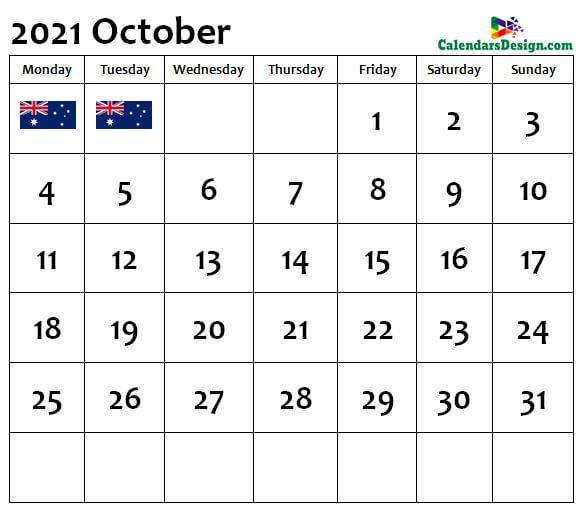 October Calendar 2021 Australia