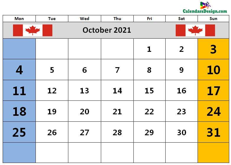 October Calendar 2021 Canada With Holidays