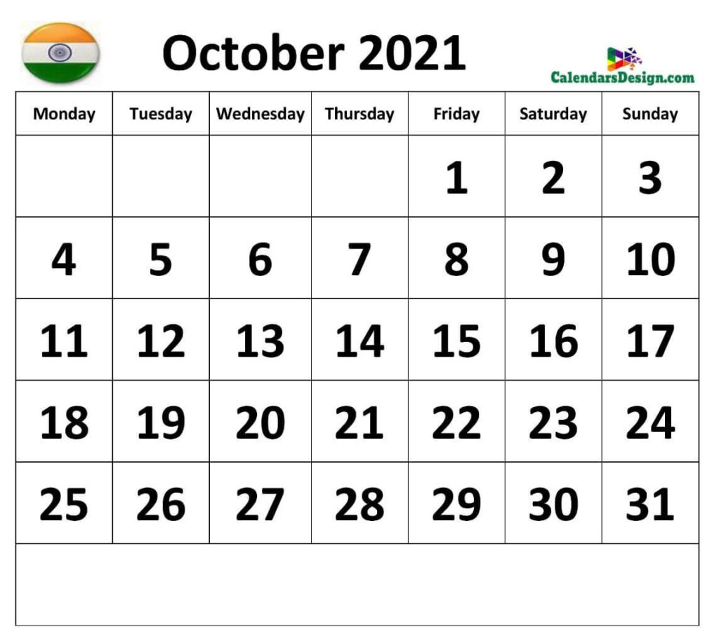 October Calendar 2021 India With Holidays