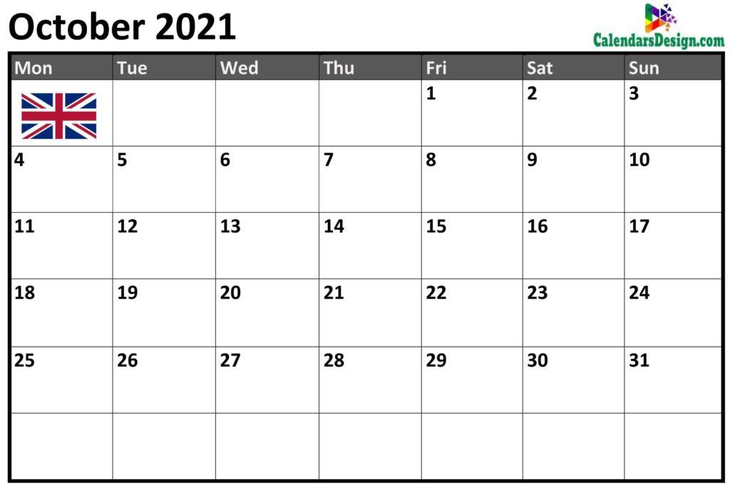 October Calendar 2021 UK With Holidays