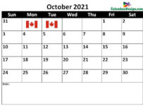 October Canada calendar 2021