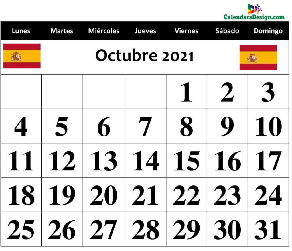 Octubre 2021 Calendario mensual Excel