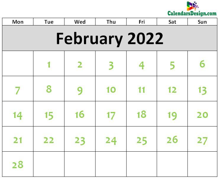 Printable Blank 2022 February Calendar Excel