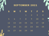 September 2021 wall calendar or office