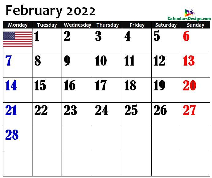 USA February 2022 calendar