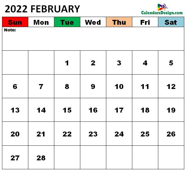 Vertex February Calendar 2022 Printable