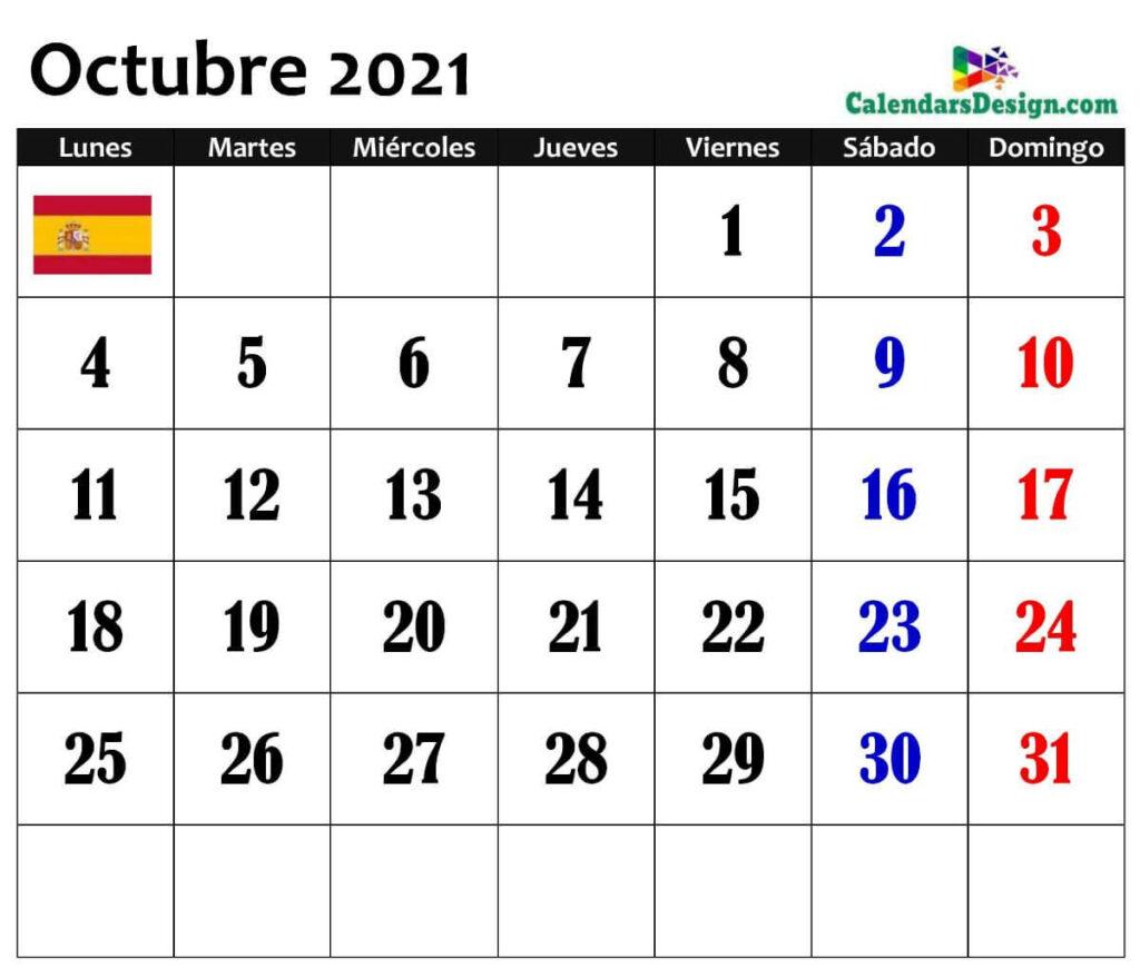 descargar el calendario octubre 2021 en línea