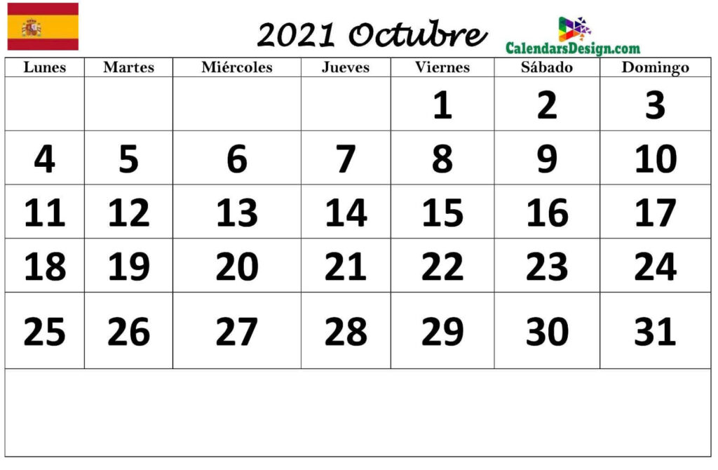 imprimir calendario octubre 2021 PDF