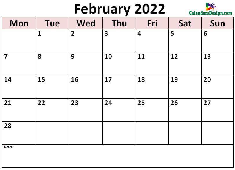 print February calendar 2022