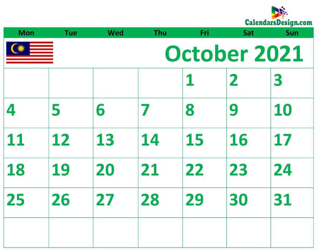 2021 October Calendar Malaysia