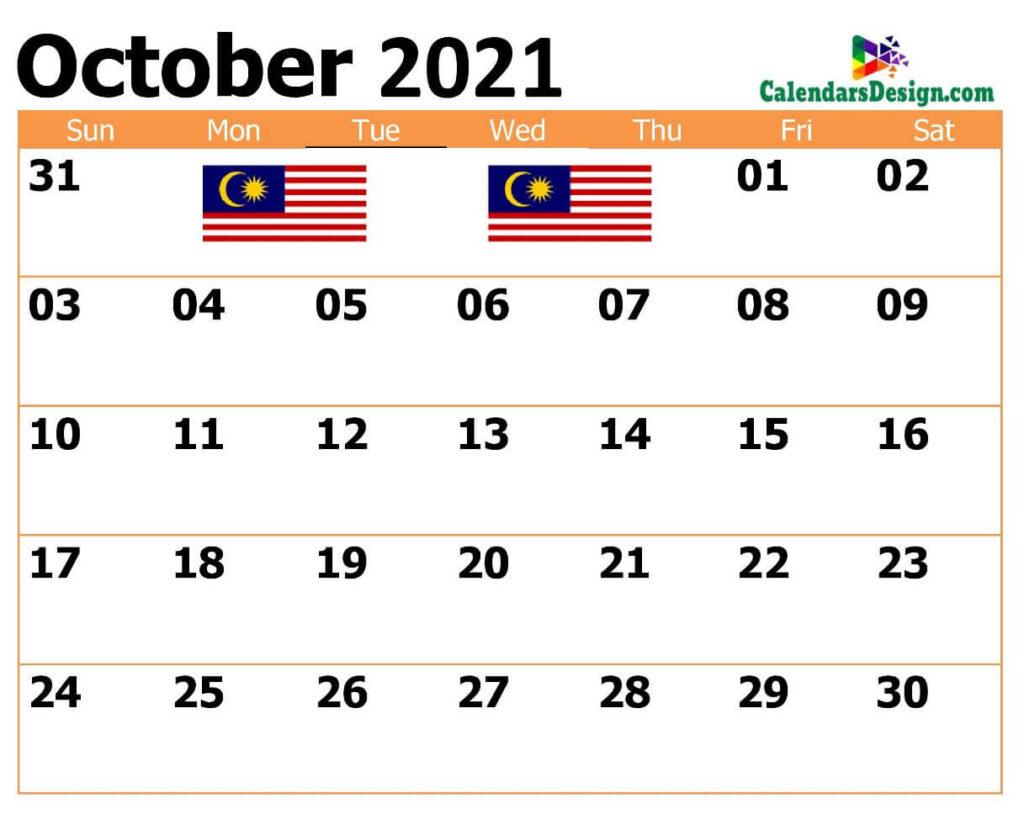 2021 October Malaysia Calendar
