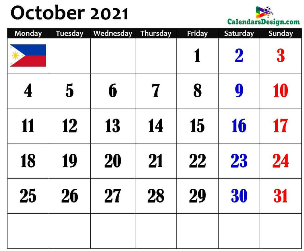 2021 October Philippines Calendar