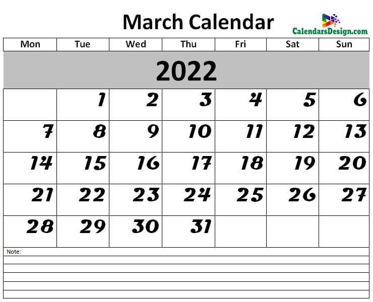 2022 Calendar March Excel Templates