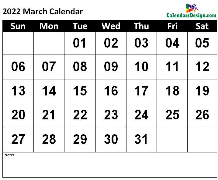 2022 Calendar March Template