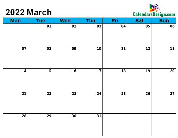 2022 March Calendar Holidays in Word