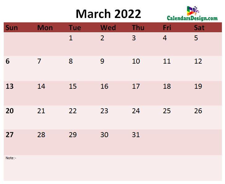 2022 March calendar template