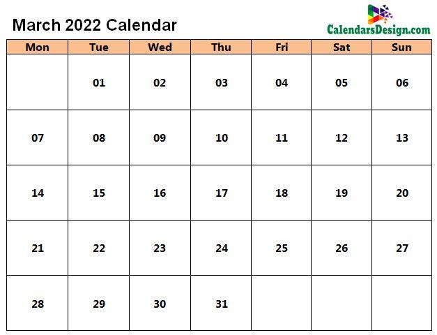 Blank Calendar for March 2022
