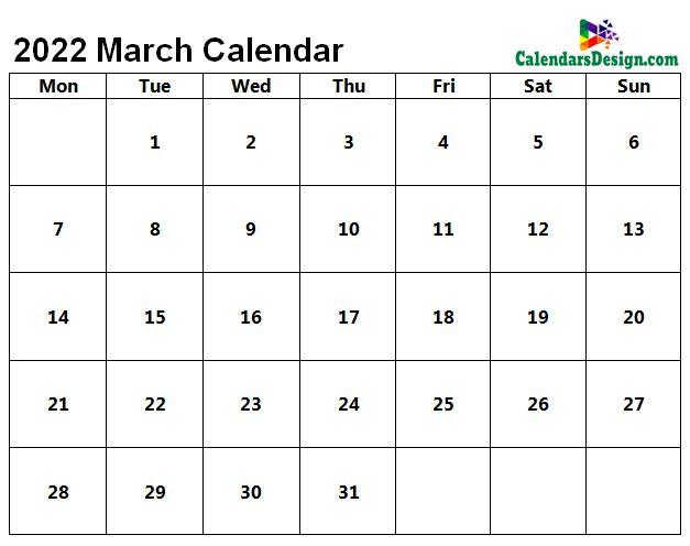 Blank March Calendar 2022 Template