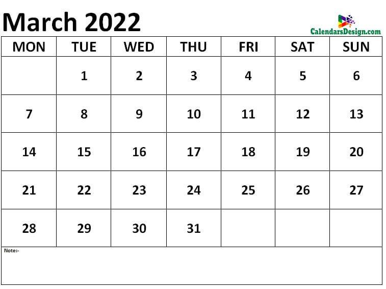 Calendar March 2022