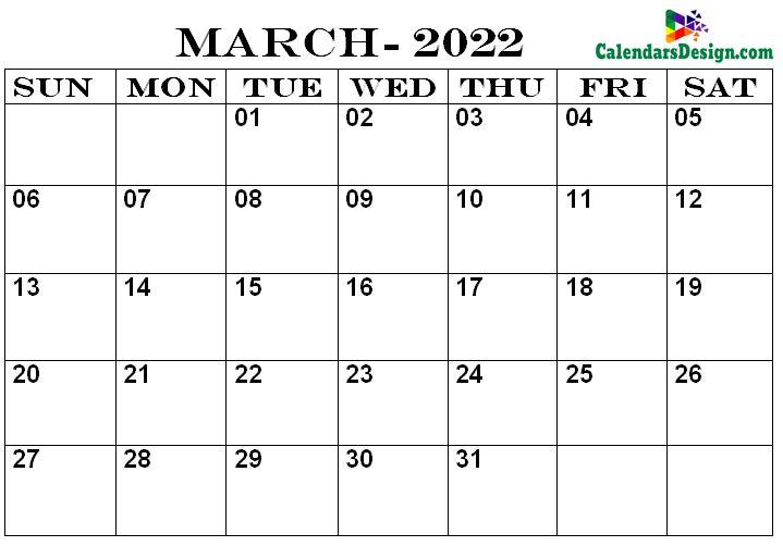 Calendar Printable March 2022