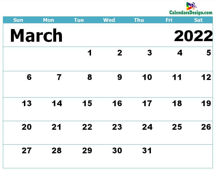 Calendar for March 2022 Excel to Print