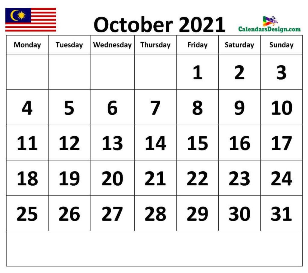 Calendar for October 2021 Malaysia