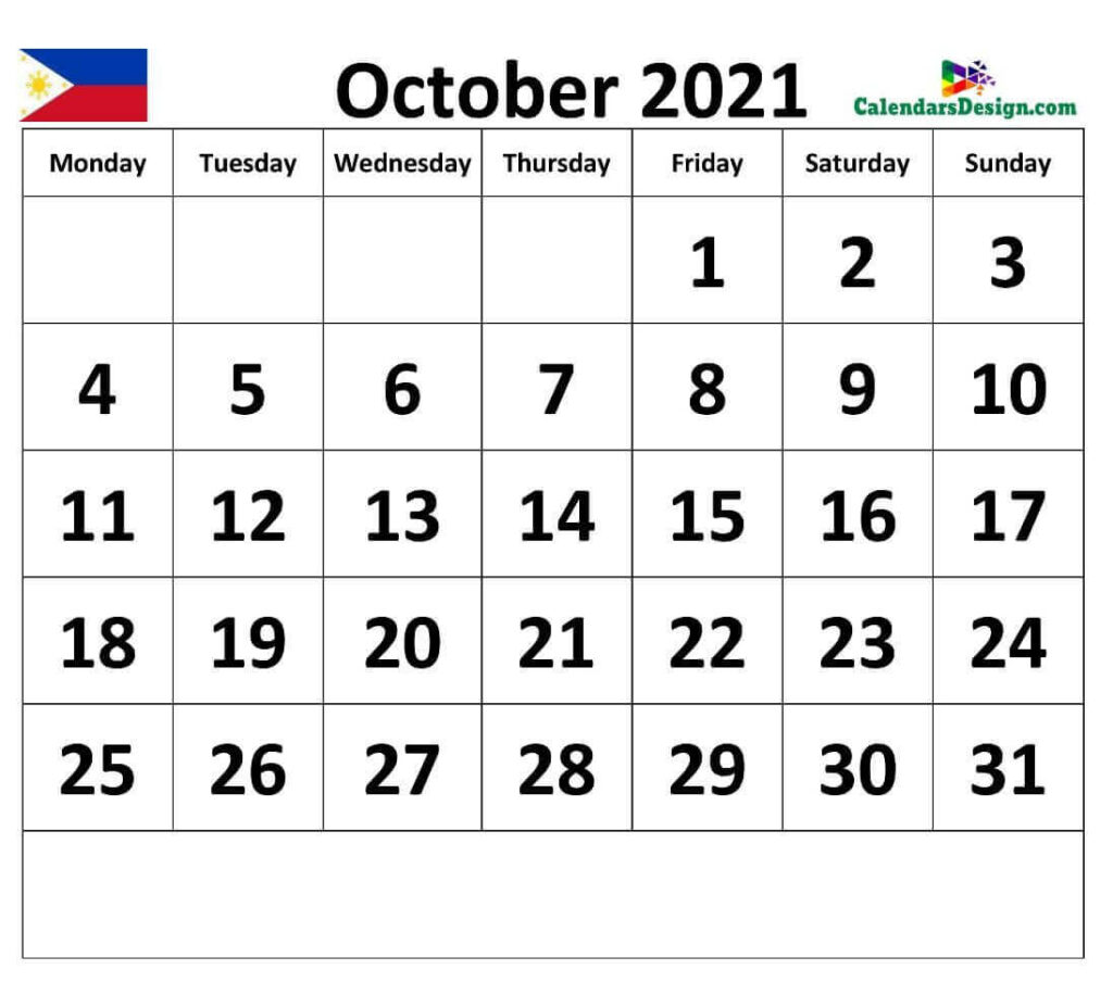 Calendar for October 2021 Philippines