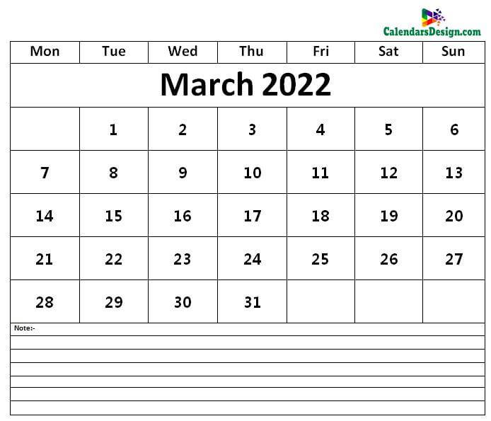 Calendar of March 2022