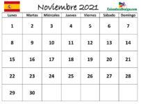 Calendario para noviembre de 2021 Word
