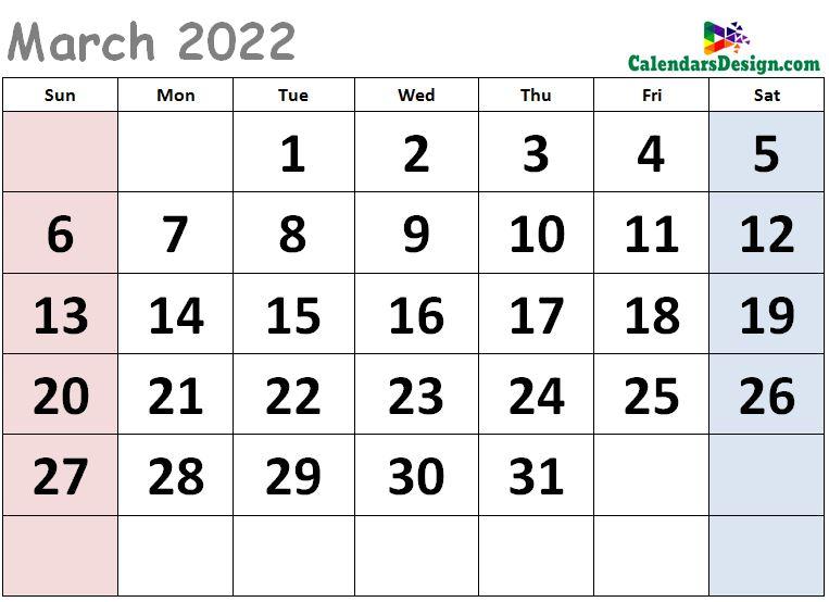 Cute Calendar for March 2022