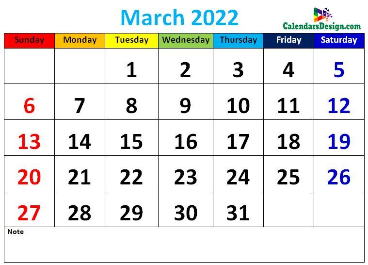 Decorative March 2022 Cute Calendar