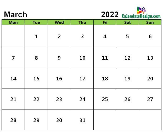 Editable March 2022 Calendar Blank Template