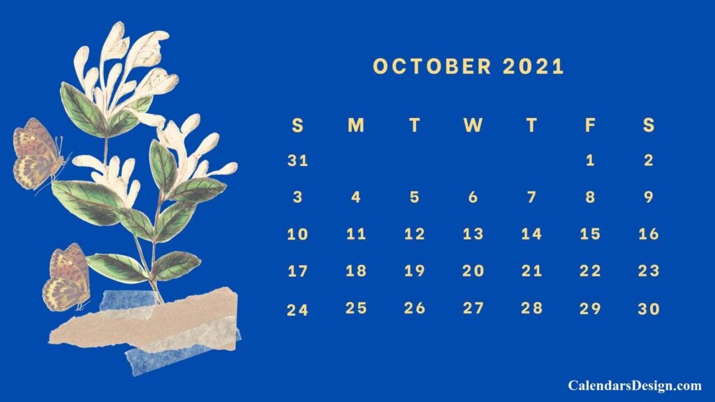 Floral October 2021 Calendar