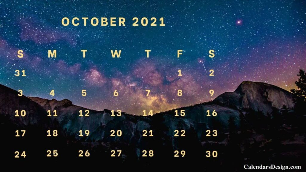 Floral October 2021 Calendar Printable