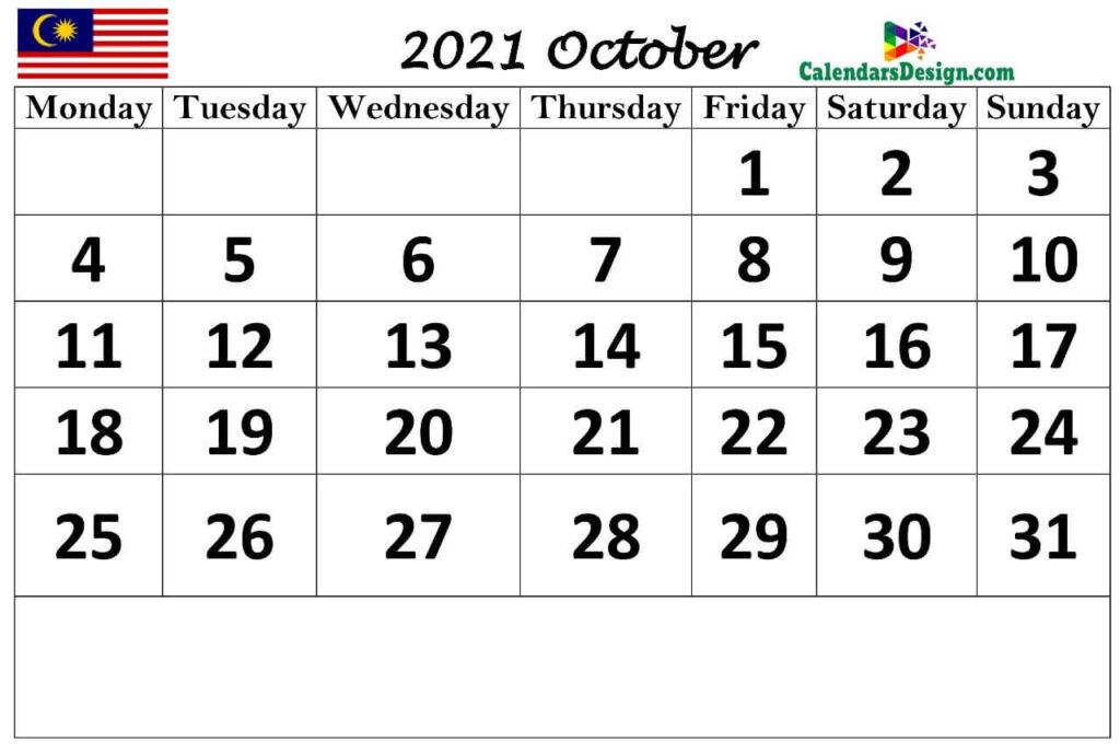 Malaysia October 2021 calendar