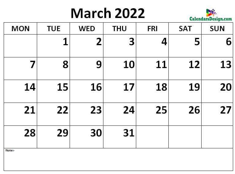 Mar 2022 Calendar