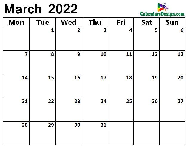 Mar 2022 blank calendar
