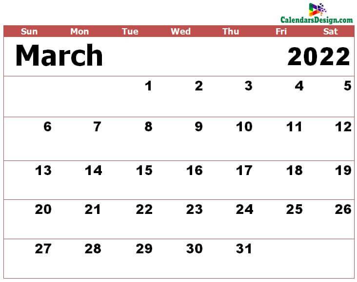 Mar 2022 calendar excel